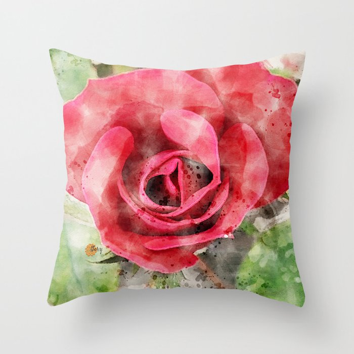 Red Rose Pillow Tery Spataro Society6