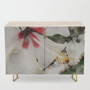 @Tery white-hibiscus-with-green-background-credenza